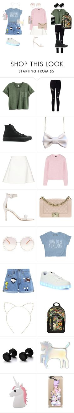 """""""power puff girls modern day outfits"""" by rihababy ❤ liked on Polyvore featuring Miss Selfridge, Converse, Neil Barrett, DKNY, Gianvito Rossi, Chanel, Chloé, Paul & Joe Sister, Wize & Ope and Cara"""