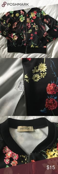 Floral Bomber Jacket Black floral bomber jacket with elastic waistband and around arms Boohoo Jackets & Coats Blazers