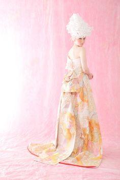 Aliansa's  Kimono  Wedding Dress with detachable outer skirt and obi