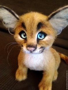 Котенок каракала - бежевый,каракал,котенок из шерсти,кот,дикие животные