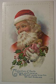 Vintage Christmas Postcard ~ Santa with Doll and Pony Toys ~ Santa has a thoughtful look on his face here.