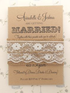 Rustic Wedding Invitation Burlap and Lace on by FromLeoniWithLove, £2.00