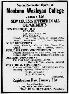 ad for Montana Wesleyan College from Great Falls Daily Tribune, January 30, 1921
