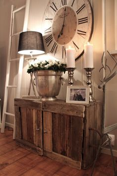 This is fabulous! The rustic cabinet and the HUGE clock, love it!