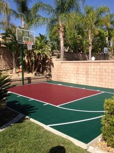 Half Basketball Court Can Add On Concrete And Paint In And Add Jordan Symbol Simple Backyard