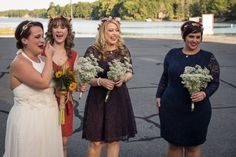 Eclectic lace bridesmaids for rustic outdoor wedding  Photography by Harold George Photography