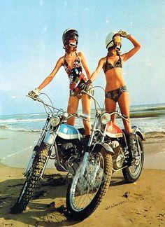 superseventies: Models on Bultaco motorcycles, 1970s.
