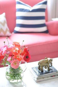 a pink couch! via caitlin wilson design: style files: P & P: Part deux House Colors, Home Decor Inspiration, Stripe Pillow, Decor, Pink Sofa, Pink, Renovation Design, Caitlin Wilson Design, Home Decor