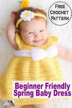 Simply Spring Crochet Baby Dress: Months - Winding Road Crochet : This free baby dress crochet pattern is designed to be quick and simple to create for the beginner or expert crocheters alike. The pattern comes in size newborn through 18 months. Crochet Baby Dress Free Pattern, Beau Crochet, Crochet Baby Blanket Beginner, Baby Dress Patterns, Baby Girl Crochet, Crochet Baby Clothes, Baby Knitting, Free Crochet, Crochet Dresses