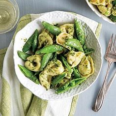 *THURSDAY* Tortellini with Snap Peas and Pesto Recipe | MyRecipes.com -- I use my own pesto rather than the one in the recipe (pesto with lemon)