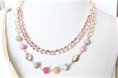 Rose Multi Strand Necklace Rose Grey Pastels by ESBeadworks CAD $35