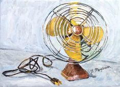 Print of Vintage Electric Fan Painting yellow by GwenMeyerson, $20.00