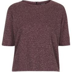 TOPSHOP Zip Back Tee ($11) ❤ liked on Polyvore featuring tops, t-shirts, shirts, tees, berry red, purple t shirt, topshop shirt, ribbed top, polyester t shirts and red tee