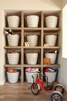 Shelves of baskets