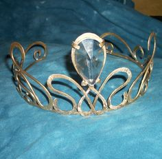 Handmade Vintage Crystal Brass Crown Tiara by WickedlyWired,