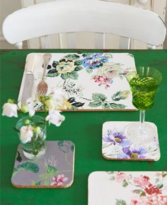Place mats with vintage paper