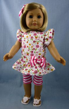 American Girl Doll Clothes  Pink and White by SewMyGoodnessShop
