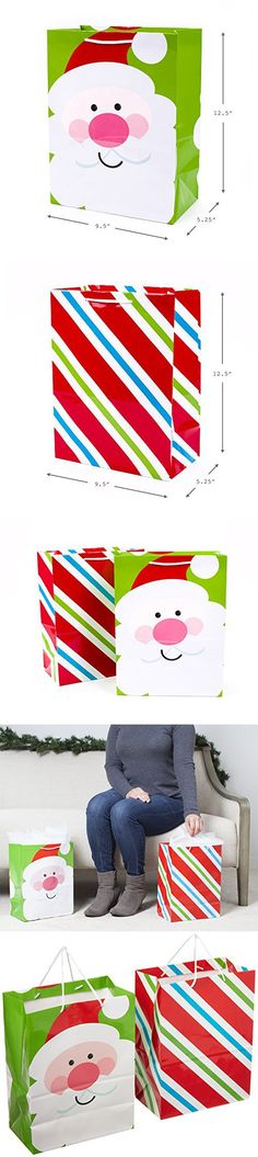 Hallmark Holiday Large Gift Bags (Bright Icons, 2 Pack)