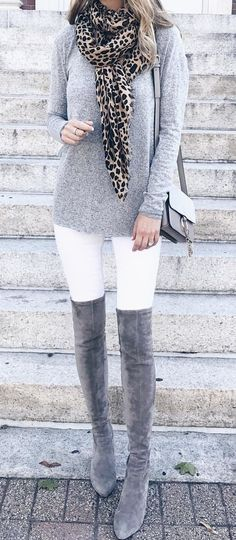 #fall #outfits gray long-sleeved shirt with white fitted pants, and gray thigh-high boots