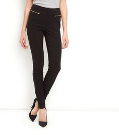 Tall Black Zip Side Bengaline Slim Trousers  | New Look