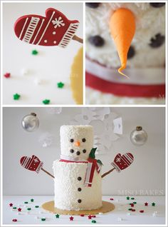 Easy DIY Snowman Cake | by Miso Bakes. Pinned from thecakeblog.com. Follow them on Pinterest! @The Cake Blog