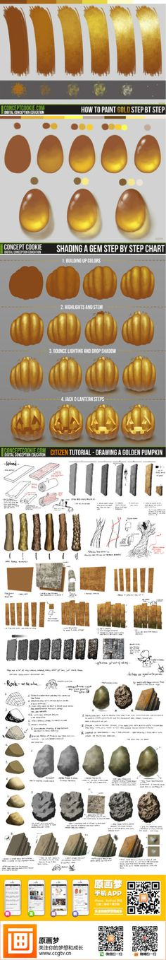 Digital painting - How to paint gold, gems, rocks Digital Painting Tutorials, Digital Art Tutorial, Art Tutorials, Painting Process, Painting Tools, Painting & Drawing, Drawing Techniques, Drawing Tips, Doodle Drawing