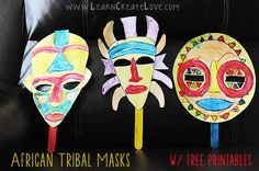 African Tribal Masks from Learn Create Love African Children, African Animals, African Masks, African Art, Africa Craft, Cultural Crafts, Kindergarten Art Projects, World Crafts, Printable Crafts