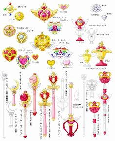 Sailor Moon wands and compacts Sailor Moon Tattoos, Sailor Moons, Sailor Moon Manga, Eternal Sailor Moon, Sailor Moon Drops, Sailor Moon Kunst, Sailor Moon Fan Art, Sailor Pluto, Sailor Moon Brooch