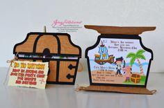 Pirate Boy Treasure Birthday Invitation Finished Cardstock Back P O