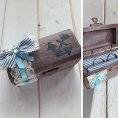Ringschatulle aus Holz, mit Anker im Retro Look gefertigt, z.B. als Ringkissen Alternative für eine 20er Jahre Vintage Hochzeit im Maritim Chic - ein handmade Designerstück von Loveli-Hochzeitsplanung / Onlineshop - www.love-li.de
