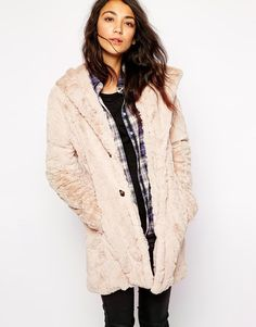 $131, Beige Fur Coat: Esprit Faux Fur Hooded Coat. Sold by Asos. Click for more info: http://lookastic.com/women/shop_items/165133/redirect