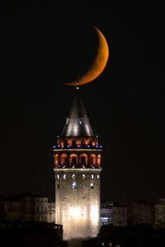Galata Tower & Moon mother nature moments - Beautiful Mother Nature