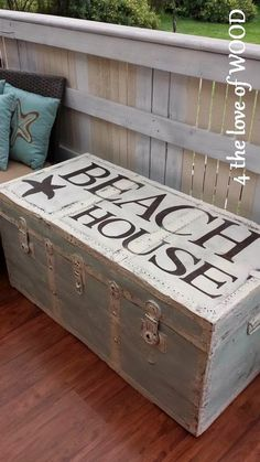 A painted trunk with beach house written on it by 4 the love of wood.