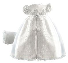 Amazon.com: Lauren Madison baby girl Christening Baptism Special occasion Newborn Embroidered Organza Satin dress gown: Clothing