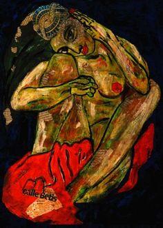 Saatchi Online Artist CARMEN LUNA; Painting, 21-Homenaje a Egon Schiele x Carmen Luna http://www.carmen-luna.com