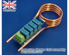 A compact coil assembly for use in induction heating or other resonant applications. It is designed for use with our Induction Heater Circuit. The coil is m Electronics Components, Diy Electronics, Electronics Projects, Induction Forge, Induction Heating, Electrical Projects, Electrical Work, Electronic Engineering, Electrical Engineering