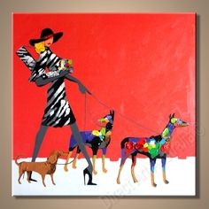 Lady with her dogs, cool art for interior decorations - Direct Art Australia,  Price: $149.00,  Availability: Delivery 14 - 21 days,  Shipping: Free Shipping,  Minimum Size: 50 x 60cm,  Maximum Size: 90 x 120cm,  Direct Art Australia provides 100% handpainted oil paintings on canvas - no cheap prints or posters!  http://www.directartaustralia.com.au/