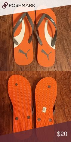 Men s Puma flip flops Orange sandals with gray they are almost brand new.  Puma Shoes 4b83cb27a64
