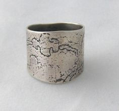 Sterling Silver Textured and Oxidised Extra Wide Ring.  by ZaZing, $95.00