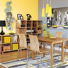 Yellow kitchen will be so much attractive for any home design whether big or small. It gives your room a bright color and more spacious. So, here are some yellow kitchen ideas for designing your kitchen room. Apartment Dining, Apartment Dining Room, Dining Room Storage, Living Room Diy, Living Room Grey, Yellow Dining Room, Yellow Room, Yellow Living Room, Grey Dining Room