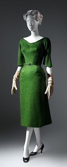 """1952-1953 - Dress, green wool, by Charles James. The Met. Charles Wilson Brega James (18 July 1906 – 23 September 1978) was a British-born fashion designer known as """"America's First Couturier"""". He is widely considered to have been a master of cutting and is known for his highly structured aesthetic."""