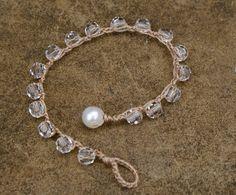Crystal crochet bracelet - boho wedding chic - wedding bracelet - romantic - beach inspired - Swarovski bracelet - Bohemian jewelry on Etsy, $32.59