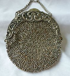 Vintage ANTIQUE Victorian Steel Cut Beaded Round Purse Chatelaine Leather Medium