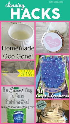 Cleaning Hacks ~ 8 Cleaning Hacks that will change the way you feel about buying cleaning products. From goo gone to air fresheners and bug spray, these hacks are amazing! Household Cleaning Tips, Homemade Cleaning Products, Cleaning Recipes, House Cleaning Tips, Green Cleaning, Natural Cleaning Products, Cleaning Hacks, Diy Hacks, Cleaning Supplies