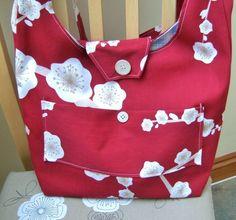 Red Cotton Handbag, ECO friendly, long Strap, lightweight £15.00