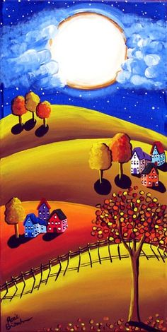 Fall Night Full Moon Colorful Whimsical Original Folk Art Canvas Painting via Etsy Arte Popular, Naive Art, Moon Art, Whimsical Art, Mellow Yellow, Painting Inspiration, Art Lessons, Amazing Art, Illustration Art