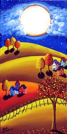 Fall Night Full Moon Colorful Whimsical Original Folk Art Canvas Painting via Etsy