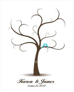 Wedding Tree Guest Book with Love Birds - Printable PDF File - Fingerprint Signature Tree - Custom color, size, text and language