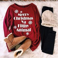 """115 Likes, 2 Comments - FallWinter❄️ (@fall_winter_things) on Instagram: """"so cozy ♥️""""  Winter outfit. Merry Christmas ya filthy animal. Home Alone. Movie quote."""
