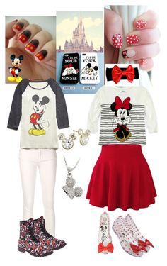 """""""Mikey and Minnie mouse outfits"""" by sequoiafaie ❤ liked on Polyvore featuring Disney, rag & bone/JEAN, Melissa, Wet Seal and Forever 21"""